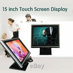 15 LED LCD POS Touch Screen Touchscreen Monitor USB VGA Stand HD 1024 X 768 US