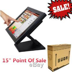 15 Touch Screen LCD POS Stand TouchScreen Monitor f/Retail Kiosk Restaurant Bar