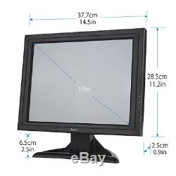 15 Ultra Thin Touch Screen LCD Monitor 1024x768 VGA HDMI BNC USB 8ms with Stand