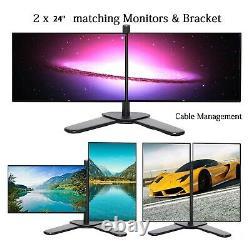 24 Doppio Monitor & Stand Economico Gaming VGA TFT LCD Ufficio Laptop Computer