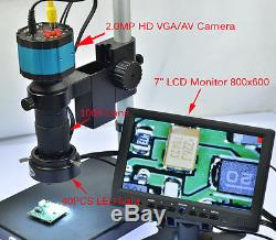 2.0MP Industry Microscope Camera Table Stand 7 VGA LCD Monitor 100X Lens 40 LED