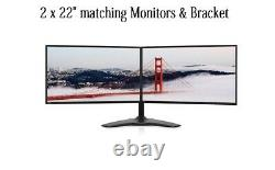 2 X 22 HP Monitor + NEW DUAL Monitor STAND 22 Widescreen LCD Monitor VGA DVI