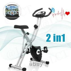 2in1 3in1 Folding Stationary Upright Cycling Exercise Bike w LCD Monitor Stand