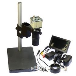 800TVL Industrial Camera AV BNC 130X Digital Microscope with LCD Monitor Stand