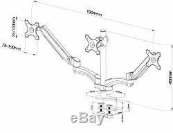 AG12T Gas Spring Desk Mount LCD Monitor Triple Arm Stand for 3x 15-27 Monitors