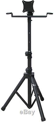 Audio2000'S AST420Y LCD Monitor Karaoke Stand with Tripod Legs, Black -New
