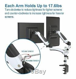 Computer Screen Holder Dual Monitor Arm Mount Stand Riser LCD Adjustable Height