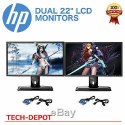 DUAL Matching HP 22 Widescreen LCD Monitors with DUAL LCD Stand Gaming / Office A