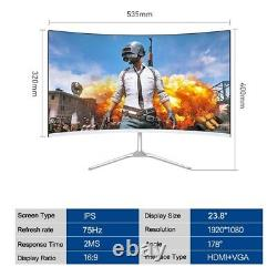 Daska 24 inch Curved LCD Computer Gaming Monitor 75Hz HDMI VGA High Resolution