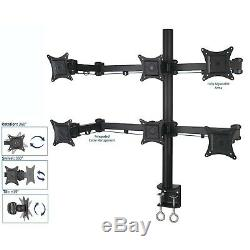 Desk Mount Stand Up To Six 6 Lcd Monitor Rack Multiple Screen Holder Adjustable