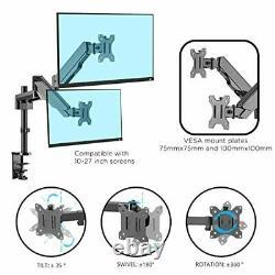 Dual Arm Tv LCD Monitor Desk Mount Bracket Articulating Swivel Gas Srping