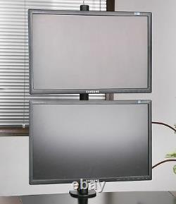 Dual Monitor Desk Mount Stand Vertical Rack LCD Screens Clamp Double up to 27