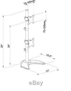 Dual Vertical Monitor Stand Desk Mount 2 LCD Double Desktop Computer Screens