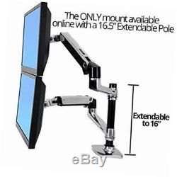 Dual lcd adjustable monitor stand, dual stacking arm, desk clamp/grommet base