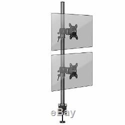 Duronic DM35V2X1 Double Twin LCD LED Vertical Desk Mount Arm Monitor Stand