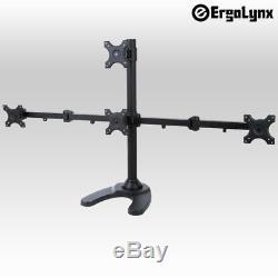 Ergolynx Four Screen Pyramid VESA Monitor Stand Desk Mount Arm LCD LED TV 4