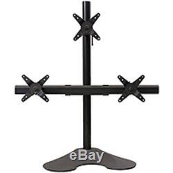 Ergotech 100-D28-B12 Triple LCD Monitor Desk Stand 28-inch pole Black Trip