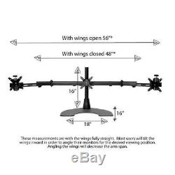 Ergotech Triple Desk Stand With Telescoping Wings For LCD Monitor