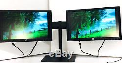 Ergotron Ds100 Dual Monitor Stand Horizontal & Lot Of 2 HP 20 Monitors Included