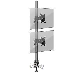 Extended Double Twin LCD LED Vertical Desk Mount Arm Monitor Stand Bracket