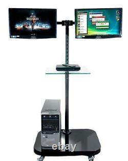 FS948 Twin Monitor Floor Stand for 2 LCD Monitors/ TVs with Glass Shelf