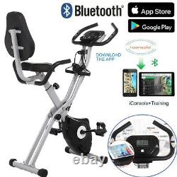 Folding Stationary Upright Indoor Cycling Exercise Bike with LCD Monitor Stand