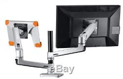 Halter Dual LCD Adjustable Monitor Stand, Stacking Arm, Desk Clamp/Grommet