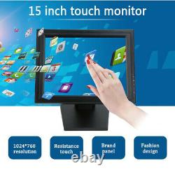High Res USB 15 Inch LCD Touch Screen Monitor VGA HDMI Stand Touch Screen POS