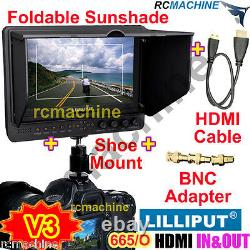 Lilliput 7 665/O v3 HDMI In & Out Monitor+6600mAh battery+hot shoe stand+cable
