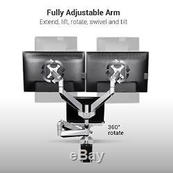 Loctek D7TP Swivel Triple Arm Desk LCD Laptop Mount Monitor Stand, Fits 10-27