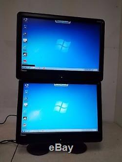 Lot of 2 x 22 LCD Monitors with Ergotech Dual Vertical Desk Monitor Stand VGA