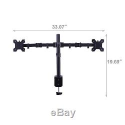 Modern 13-27 Dual Monitor Stand Mount Arm Desk For 2 LCD Screens