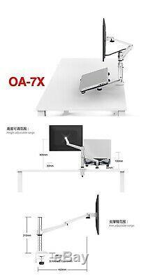 Multimedia Desktop Dual Arm LCD Monior Holder+ Laptop Holder Stand Monitor Mount