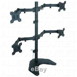 Quad LCD Led Monitor Freestanding Desk Mount Stand Heavy Duty Fully Adjustable 4