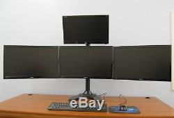 Quad LCD Monitor Free Standing Height Adjustable 4 Screen Desk Mount VIVO1034