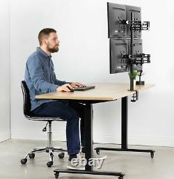 Quad LCD Monitor Fully Adjustable Desk Mount Stand For 4 Screens 17 to 32