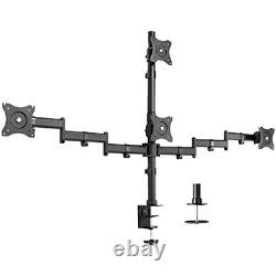 Quad LCD Monitor Heavy Duty Desk Mount 3 + 1 Stand / Holds Four Screens upto 27