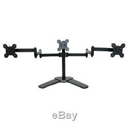Triple Freestanding LCD Monitor Stand Desk Mount Adjustable Arm 3 Screens 13-27