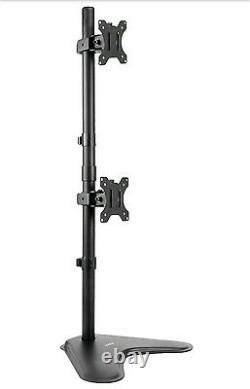 VIVO Dual LCD Monitor Desk Stand Mount Standing Vertical Fits 2 Screens upto 27