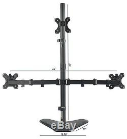VIVO Triple LCD Monitor Desk Stand Free Stand Heavy Duty Adjustable STAND-V003E