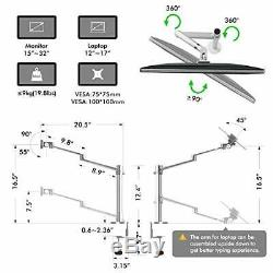 Viozon Monitor Laptop Mount 2in1 Adjustable Dual Arm Desk Mount Tray Stand LCD