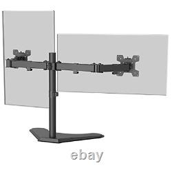 WALI Free Standing Dual LCD Monitor Fully Adjustable Desk Mount Fits Two Screens