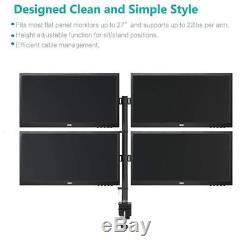 WALI Quad LCD Monitor Desk Mount Fully Adjustable Stand Fits Four Screens up