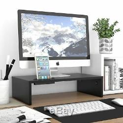 Wood Monitor Stand Riser for TV Computer Apple iMac LCD Desktop Rack Accessory
